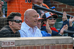 March 29, 2018 - Baltimore, MD, U.S. - BALTIMORE, MD - MARCH 29: Baltimore Orioles former player Brady Anderson (L) and Orioles Hall of Fame shortstop Cal Ripken (R) attend the Opening Day game between the Minnesota Twins and the Baltimore Orioles on March 29, 2018, at Orioles Park at Camden Yards in Baltimore, MD.  The Baltimore Orioles defeated the Minnesota Twins, 3-2 in eleven innings.  (Photo by Mark Goldman/Icon Sportswire) (Credit Image: © Mark Goldman/Icon SMI via ZUMA Press)