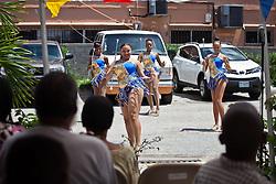 The Sebastien Majorettes perform for the seniors at Lucinda Milling Home for the Aged.  Mini Carnival at Lucinda Millin Home for the Aged.  St. Thomas, USVI.  11 April 2015.  © Aisha-Zakiya Boyd