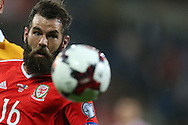 Joe Ledley of Wales in action. Wales v Moldova , FIFA World Cup qualifier at the Cardiff city Stadium in Cardiff on Monday 5th Sept 2016. pic by Andrew Orchard, Andrew Orchard sports photography