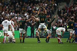 Oct 20, 2007 - Paris, France - Rugby World Cup 2007: Joy of South Africa and the disappointment of England. South Africa beat England 15-6 in the final match to win the Cup.  (Credit Image: © JB AUTISSIER/Fep/Panoramic/ZUMA Press)