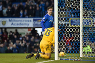 Portsmouth Forward, Oliver Hawkins (9) scores his second goal to make it 3-1 and celebrates during the EFL Sky Bet League 1 match between Portsmouth and Northampton Town at Fratton Park, Portsmouth, England on 30 December 2017. Photo by Adam Rivers.