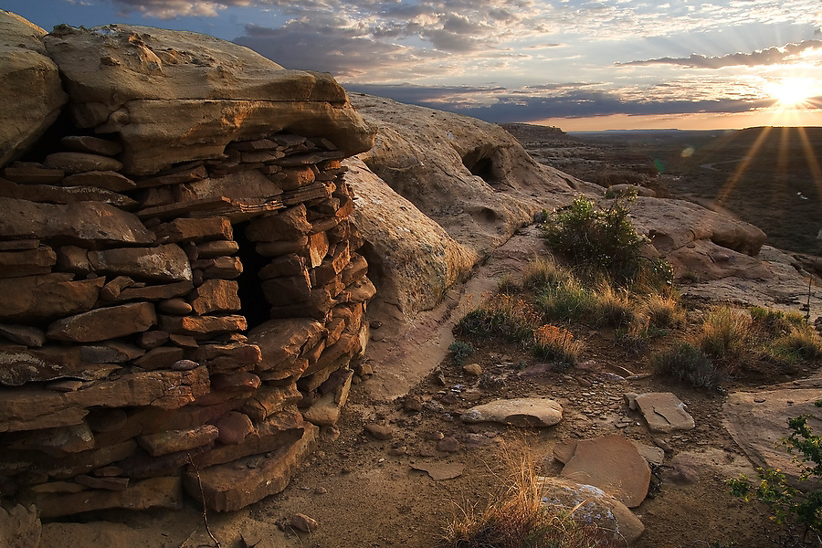 The sun rises over a small stone structure at Chaco Culture National Historic Park, New Mexico on July 23, 2006 (authenticity unconfirmed).