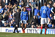 Portsmouth Forward, Jamal Lowe (18) shown a yellow card during the EFL Sky Bet League 1 match between Portsmouth and Blackpool at Fratton Park, Portsmouth, England on 24 February 2018. Picture by Adam Rivers.