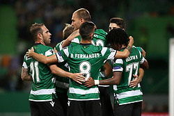 November 22, 2017 - Lisbon, Portugal - Sporting's forward Bas Dost from Holland celebrates with teammates after scoring during the UEFA Champions League group D football match Sporting CP vs Olympiacos FC at Alvalade stadium in Lisbon, Portugal on November 22, 2017. Photo: Pedro Fiuza  (Credit Image: © Pedro Fiuza/NurPhoto via ZUMA Press)