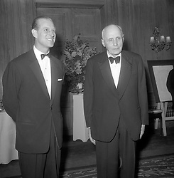 File photo dated 04/06/64 of the Duke of Edinburgh, ex pupil of Gordonstoun, meeting his old headmaster, Dr. Kurt Hahn, at a dinner given in the doctor's honour by The Friends of Gordonstoun. The Duke of Edinburgh's Award is likely to be judged Prince Philip's greatest legacy. Issue date: Friday April 4, 2021.