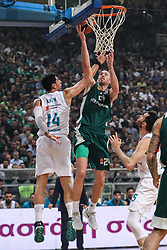 ATHENS, April 20, 2018  Matt Lojeski (Top R) of Panathinaikos goes up for a shot during the match between Panathinaikos and Real Madrid at basketball Euroleague playoff in Athens, Greece, on April 19, 2018. (Credit Image: © Lefteris Partsalis/Xinhua via ZUMA Wire)