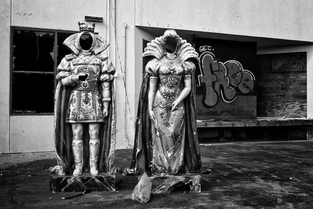 Outside the Jocco's Mardi Gras Madness Gift Store and Cafe at Six Flags in East New Orleans - five years later after Hurricane Katrina.