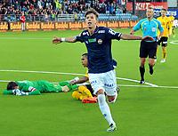 Fotball Herrer Tippeligaen 2014<br /> Marienlyst Stadion Gamle Gress  30.3.2014 Seriestart<br /> <br /> Strømsgodset vs Start<br /> <br /> Resultat 4 - 2<br /> <br /> Foto: Robert Christensen Digitalsport<br /> <br /> Strømsgodset Gustav Mendonca Wikheim jubler for sin scoring<br /> <br /> Starteeper Håkon Opdal ligger igjen og griner