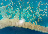 Aerial view above of the Great Barrier Reef, Australia