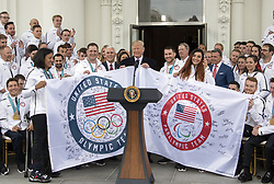 April 27, 2018 - Washington, District of Columbia, United States of America - United States President Donald J. Trump hosts a celebration for Team USA at the White House in Washington, DC on Friday, April 27, 2018..Credit: Ron Sachs / CNP (Credit Image: © Ron Sachs/CNP via ZUMA Wire)