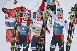 27.02.2021, Oberstdorf, GER, FIS Weltmeisterschaften Ski Nordisch, Oberstdorf 2021, Damen, Nordische Kombination, Langlauf, im Bild v.l.: 2. Platz Mari Leinan Lund (NOR), 1. Platz Gyda Westvold Hansen (NOR), 3. Platz Marte Leinan Lund (NOR) // f.l.: 2nd placed Mari Leinan Lund of Norway Winner Gyda Westvold Hansen of Norway 3nd placed Marte Leinan Lund of Norway during Cross Country Competition of women Nordic combined of FIS Nordic Ski World Championships 2021. in Oberstdorf, Germany on 2021/02/27. EXPA Pictures © 2021, PhotoCredit: EXPA/ Dominik Angerer