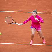 PARIS, FRANCE September 30. Simona Halep of Romania in action against Irina-Camelia Begu of Romania in the second round of the singles competition on CourtSuzanne Lenglen during the  French Open Tennis Tournament at Roland Garros on September 30th 2020 in Paris, France. (Photo by Tim Clayton/Corbis via Getty Images)