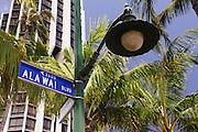 Ala Wai Boulevard street sign and street light.