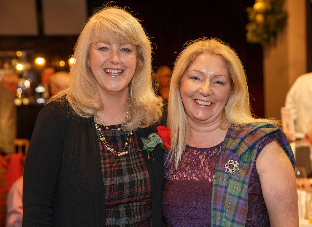 Burns Supper event in at the Brig o'Doon Hotel in Alloway.  L to R :  Lesley Riddoch and Stephanie Roxburgh, Director at DDL Group. Picture Robert Perry  24th Jan 2016<br /> <br /> Must credit photo to Robert Perry<br /> FEE PAYABLE FOR REPRO USE<br /> FEE PAYABLE FOR ALL INTERNET USE<br /> www.robertperry.co.uk<br /> NB -This image is not to be distributed without the prior consent of the copyright holder.<br /> in using this image you agree to abide by terms and conditions as stated in this caption.<br /> All monies payable to Robert Perry<br /> <br /> (PLEASE DO NOT REMOVE THIS CAPTION)<br /> This image is intended for Editorial use (e.g. news). Any commercial or promotional use requires additional clearance. <br /> Copyright 2014 All rights protected.<br /> first use only<br /> contact details<br /> Robert Perry     <br /> 07702 631 477<br /> robertperryphotos@gmail.com<br /> no internet usage without prior consent.         <br /> Robert Perry reserves the right to pursue unauthorised use of this image . If you violate my intellectual property you may be liable for  damages, loss of income, and profits you derive from the use of this image.