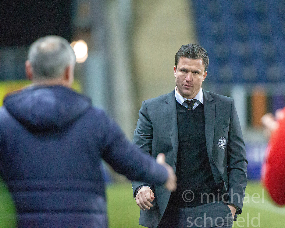 Falkirk's manager Ray McKinnon and Partick Thistle's manager Gary Caldwell at the end. Falkirk 1 v 1 Partick Thistle, Scottish Championship game played 17/11/2018 at The Falkirk Stadium.