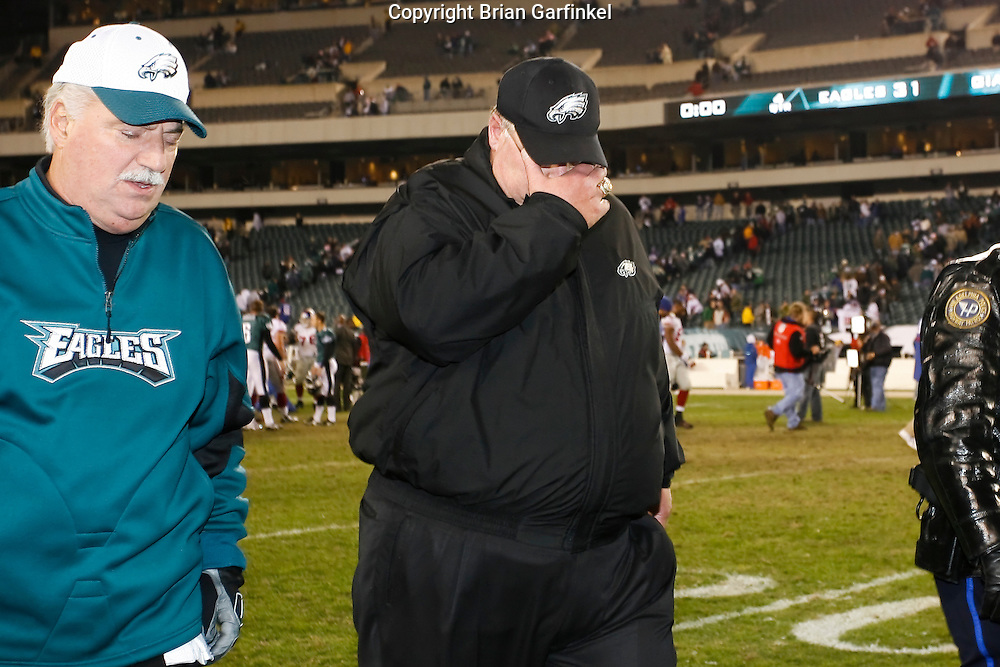 9 Oct 2008: Philadelphia Eagles Head Coach Andy Reid walks off the field after the game against the New York Giants on October 9th, 2008. The Giants won 36-31 at Lincoln Financial Field in Philadelphia, Pennsylvania.