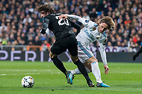 Real Madrid Luka Modric and PSG Adrien Rabiot during Eight Finals Champions League match between Real Madrid and PSG at Santiago Bernabeu Stadium in Madrid , Spain. February 14, 2018. (ALTERPHOTOS/Borja B.Hojas)