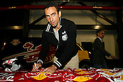 Thursday October 12th 2006. .Giants Stadium, East Rutherford, New Jersey. United States..Red Bulls French soccer player Youri Djorkaeff signs jerseys..Saturday October 14th 's game against Kansas City at the Giants Stadium could be his last one as a professional player.