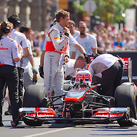 McLaren Formula One driver Jenson Button of Britain attends the Vodafone Downtown Grand Prix in Budapest, Hungary on May 01, 2012. ATTILA VOLGYI