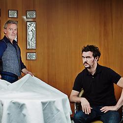 "PARIS, FRANCE. JUNE 6, 2013. Renowned chefs Alain Passard and Bertrand Grebaud shot at ""L'Arpège"", Passard's restaurant. Photo: Antoine Doyen"
