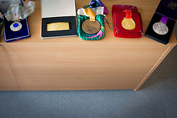 World Championships and olympic medals during press conference of athlete Primoz Kozmus before new season 2013, on April 23, 2013,in Gen-i energija, Krsko, Slovenia. (Photo By Vid Ponikvar / Sportida.com)