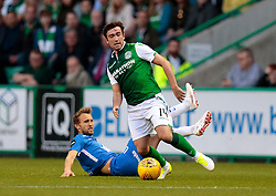 Hibernian's Stevie Mallan (Right) is tackled by Molde's Magnus Wolff Eikrem (Left) during the UEFA Europa League third qualifying round, first leg match at Easter Road, Edinburgh.