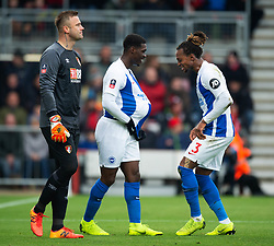 Brighton & Hove Albion'€™s Yves Bissouma (left) celebrates scoring his side's first goal of the game with team-mate