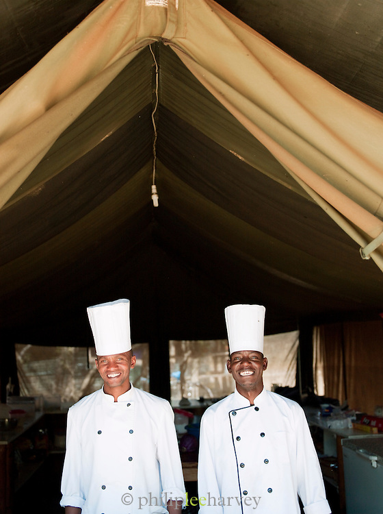 Local chefs who work at an eco tourist camp, near Amboseli National Park, Rift Valley province, Kenya