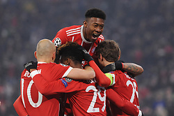20.02.2018, Allianz Arena, Muenchen, GER, UEFA CL, FC Bayern Muenchen vs Besiktas Istanbul, Achtelfinale, Hinspiel, im Bild Freude be David Alaba (FC Bayern Muenchen), // during the UEFA Champions League round of 16, 1st Leg Match match between FC Bayern Muenchen and Besiktas Istanbul at the Allianz Arena in Muenchen, Germany on 2018/02/20. EXPA Pictures © 2018, PhotoCredit: EXPA/ Eibner-Pressefoto/ Stuetzle<br /> <br /> *****ATTENTION - OUT of GER*****