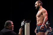DALLAS, TX - MARCH 13:  Johny Hendricks stands on the scale during the UFC 185 weigh-ins at the Kay Bailey Hutchison Convention Center on March 13, 2015 in Dallas, Texas. (Photo by Cooper Neill/Zuffa LLC/Zuffa LLC via Getty Images) *** Local Caption *** Johny Hendricks