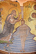 Christ being baptised by John The Baptist in Byzantine mosaics of Nea Moni built by Constantine IX and Empress Zoe after the miraculous appearance of an Icon of the Virgin Mary at the site and inaugurated in 1049. Nea Moni monastery, Chios Island, Greece. A UNESCO World Heritage Site. .<br /> <br /> If you prefer to buy from our ALAMY PHOTO LIBRARY  Collection visit : https://www.alamy.com/portfolio/paul-williams-funkystock/chios.html<br /> <br /> Visit our BYZANTINE ART PHOTO COLLECTION for more   photos  to download or buy as prints https://funkystock.photoshelter.com/gallery-collection/Roman-Byzantine-Art-Artefacts-Antiquities-Historic-Sites-Pictures-Images-of/C0000lW_87AclrOk