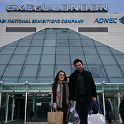 London,England, UK ; 19th Feb 2016 : Dani Harmer and her partner Simon Brough  leaving the Baby Show 2016 at Excel London. Photo by See Li