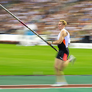 BRUSSELS, BELGIUM:  September 3:   Piotr Lisek of Poland in action during the pole vault competition at the Wanda Diamond League 2021 Memorial Van Damme Athletics competition at King Baudouin Stadium on September 3, 2021 in  Brussels, Belgium. (Photo by Tim Clayton/Corbis via Getty Images)