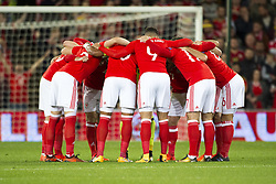 October 9, 2017 - Cardiff City, Walles, United Kingdom - The Welsh team during the FIFA World Cup 2018 Qualifying Round Group D match between Wales and Republic of Ireland at Cardiff City Stadium in Cardiff, Wales, United Kingdom on October 9, 2017  (Credit Image: © Andrew Surma/NurPhoto via ZUMA Press)