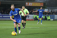 AFC Wimbledon midfielder Scott Wagstaff (7) dribbling during the EFL Sky Bet League 1 match between AFC Wimbledon and Southend United at the Cherry Red Records Stadium, Kingston, England on 24 November 2018.