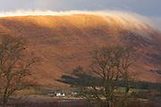 Mist on hills at sunrise, Cnoc na h-Eilde, Applecross, Ross-shire, Highland.
