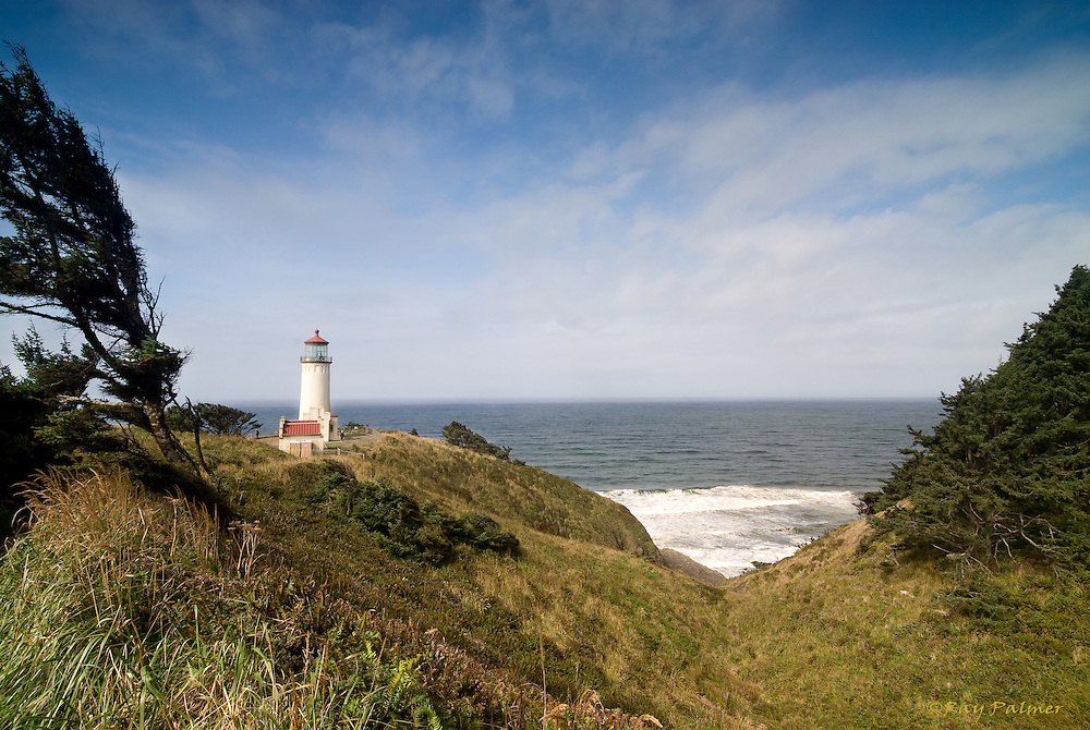 Cape Disappointment, Washington.<br /> <br /> Spanish Explorer Bruno Heceta charted the mouth of the Columbia at the confluence of the Pacific in 1775.  British explorer John Meares was convinced no river existed here 13 years later, and named the place Cape Disappointment.  The North Head light sits at the western extremity, not far from where Captain Merriwether Lewis first saw the Pacific, in 1805. If the wind ever stops here, you wouldn't know it by the permanent bend of trees and grass...only rock stands firm against the elements receding into that distance