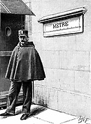 Standard Metre in the Petit Luxembourg, Paris. Set up when Metrification introduced by the French National Assembly between 1791 and 1795. Metric units became compulsory in France in 1801. Engraving, 1904.