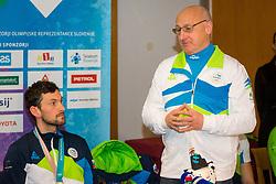 Bogdan Gabrovec during Arrival of Jakov Fak, Silver medalist at Olympic Games in Pyeongchang 2018, on February 25, 2018 in Aerodrom Ljubljana, Letalisce Jozeta Pucnika, Kranj, Slovenia. Photo by Ziga Zupan / Sportida