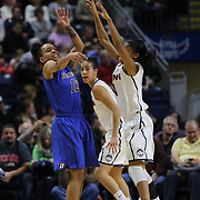 Brittaby Hrynko, (left), DePaul, in action during the UConn Vs DePaul, NCAA Women's College basketball game at Webster Bank Arena, Bridgeport, Connecticut, USA. 19th December 2014