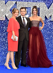 Christine Egerton, Taron Egerton and Emily Thomas (left to right) attending the Rocketman UK Premiere, at the Odeon Luxe, Leicester Square, London.