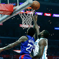 31 December 2017: LA Clippers guard Lou Williams (23) goes for the layup past Charlotte Hornets forward Michael Kidd-Gilchrist (14) during the LA Clippers 106-98 victory over the Charlotte Hornets, at the Staples Center, Los Angeles, California, USA.
