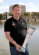 Seville. SPAIN, 18.02.2007, GB Rowing, chief coach Jurgan GROBLER hold the trophy for team gaining the most point through  the two day  FISA Team Cup regatta, held on the River Guadalquiver course. [Photo Peter Spurrier/Intersport Images]    [Mandatory Credit, Peter Spurier/ Intersport Images]. , Rowing Course: Rio Guadalquiver Rowing Course, Seville, SPAIN,