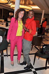 Left to right, TARA SMITH and TIFFANY PERSONS the founder and director of Shine On Sierra Leone at a lunch to launch Cash & Rocket on Tour 2013 hosted by Julia Brangstrup in aid of Orpan Aid and Shine on Sierrra Leone held at Banca, 40 North Audley Street, London on 29th April 2013.