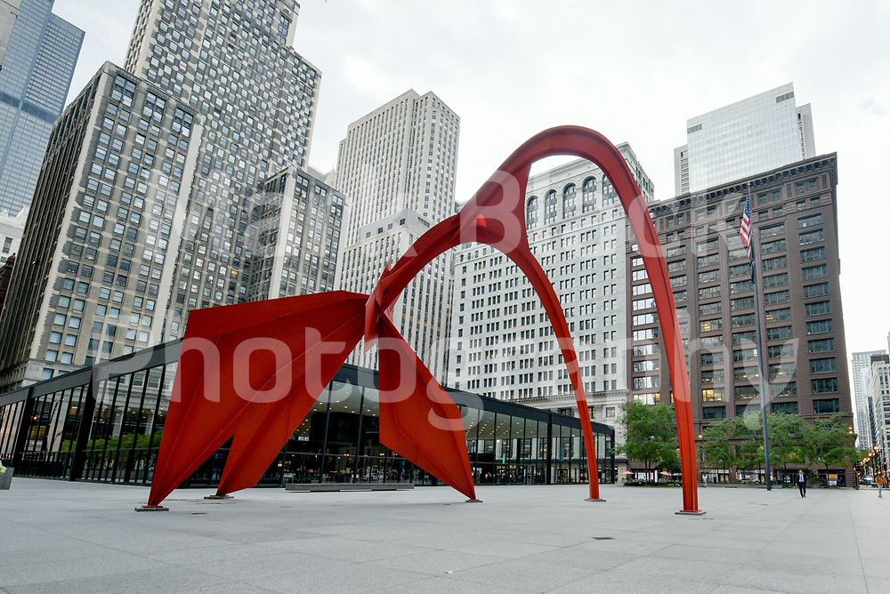 Federal Plaza and Flamingo sculpture by Alexander Calder in Chicago, Illinois. Photo by Mark Black