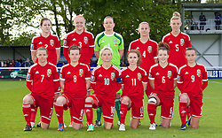 BANGOR, WALES - Thursday, May 8, 2014: Wales' players line up for a team group photograph before the FIFA Women's World Cup Canada 2015 Qualifying Group 6 match against Montenegro at the Nantporth Stadium. Back row L-R: Nicola Cousins, Helen Bleazard, goalkeeper Nicola Davies, Kylie Davies, Sophie Ingle. Front row L-R: Loren Dykes, Hayley Ladd, captain Jessica Fishlock, Sarah Wiltshire, Angharad James, Natasha Harding. (Pic by David Rawcliffe/Propaganda)