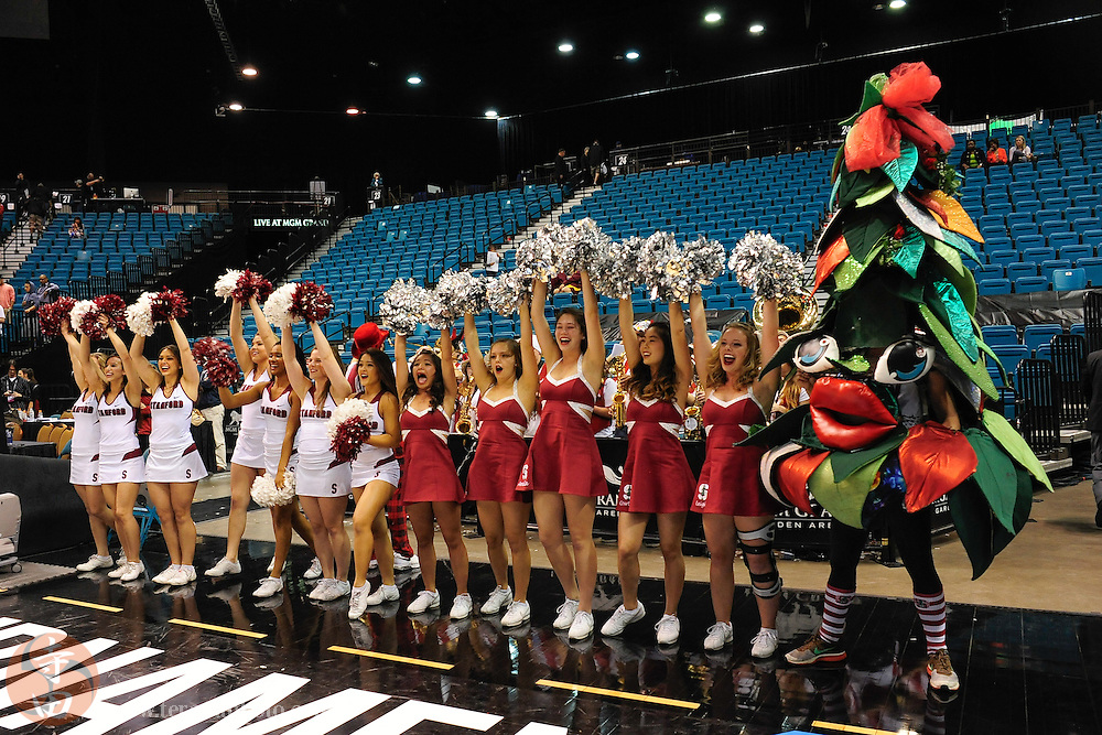Mar 12, 2014; Las Vegas, NV, USA; Stanford Cardinal cheerleaders, dancers, and mascot perform during the second half against the Washington State Cougars in the first round of the Pac-12 Conference Tournament at MGM Grand Garden Arena. The Cardinal defeated the Cougars 74-63.