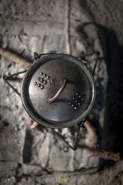 Close-up of traditional cast iron cooking pot from above, Eswatini