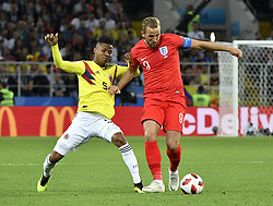 MOSCOW, July 3, 2018  Harry Kane (R) of England vies with Wilmar Barrios of Colombia during the 2018 FIFA World Cup round of 16 match between England and Colombia in Moscow, Russia, July 3, 2018. (Credit Image: © He Canling/Xinhua via ZUMA Wire)
