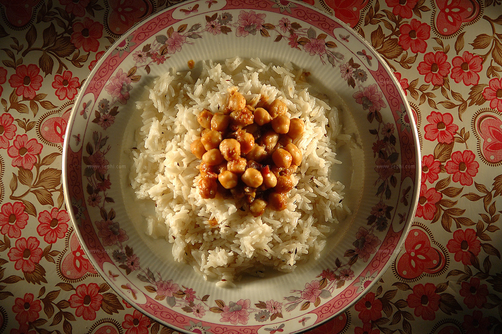 Chole chawal - chick peas and white basmati rice ( Recipe available upon request )
